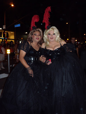 Ladies in black at West Hollywood Halloween Carnaval 2009