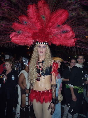 West Hollywood Halloween Carnaval feathered headdress