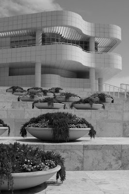 Getty Center arrival plaza in mono