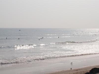 Surfers in the ocean in Santa Monica