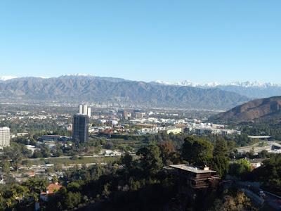 Snow capped mountains surrounding San Fernando Valley