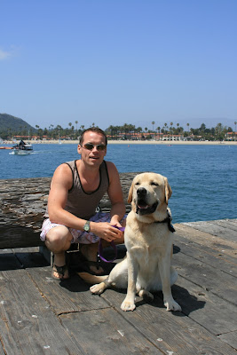 Jason and Cooper at Stearns Wharf