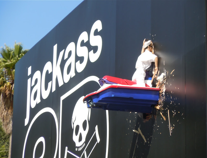Crashed jet ski Jackass 3D billboard