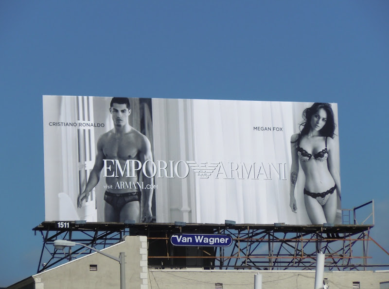 Crtistiano Ronaldo and Megan Fox Armani underwear billboard