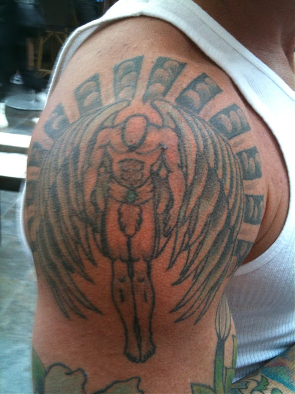 Muscle tattoo angel. Meanwhile, in addition to street art I also spied this