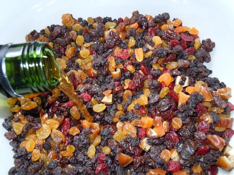 Soaking fruitcake ingredients