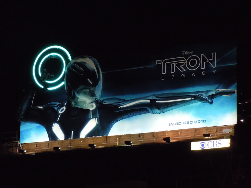 Illuminated Tron Legacy movie billboard