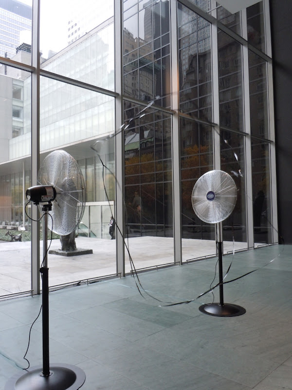 Two blowing fans installation MoMA