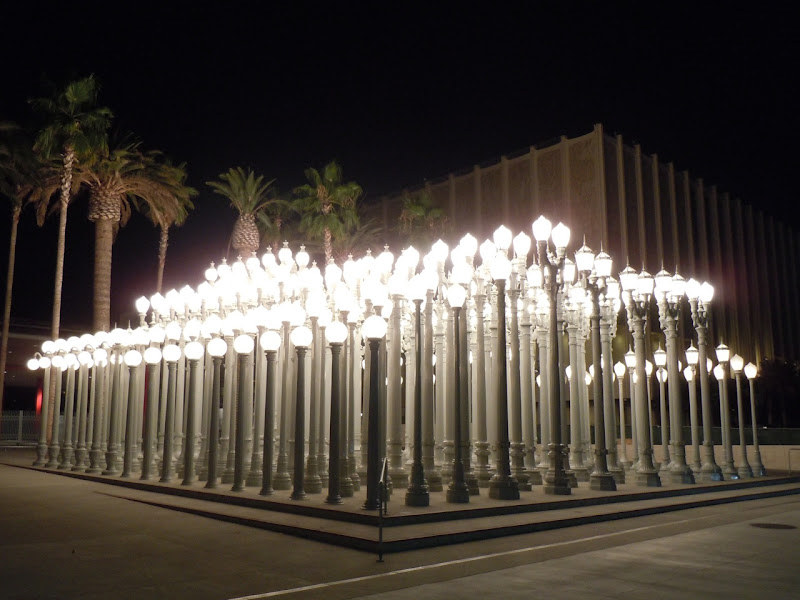 Urban Light sculpture at Night