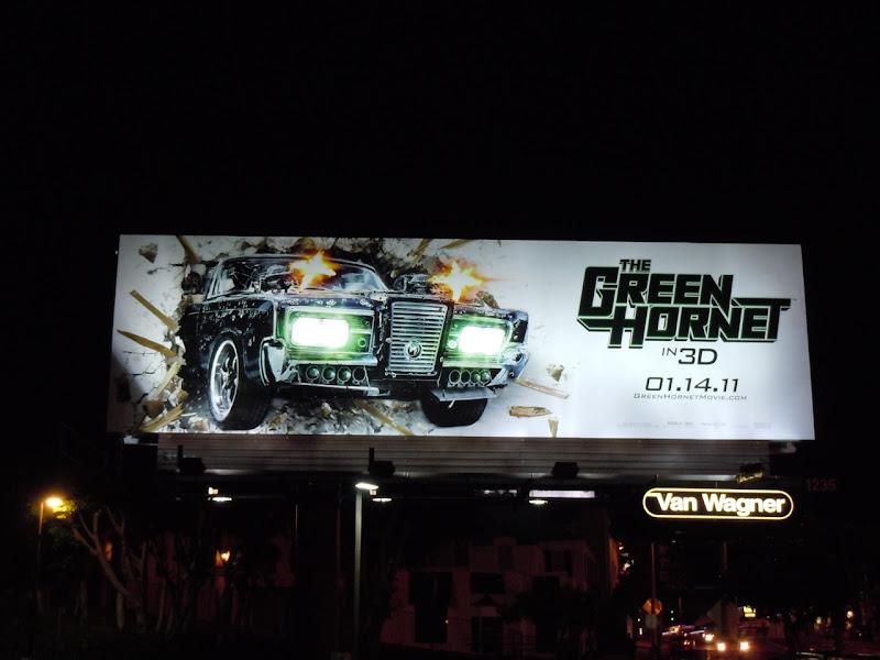 Green Hornet film billboard at night