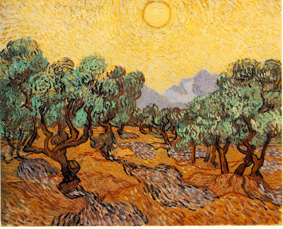 Vincent Van Gogh's Olive Trees with Yellow Sky and Sun, 1889