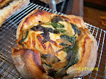Sourdough Bread Boule, stuffed with spinach & onion.