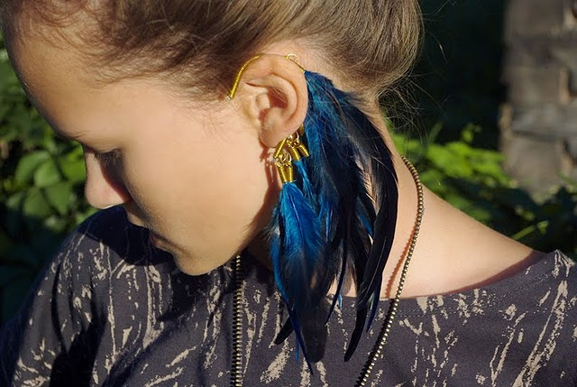 feather ear rings cuff trend fashion style cool hottest