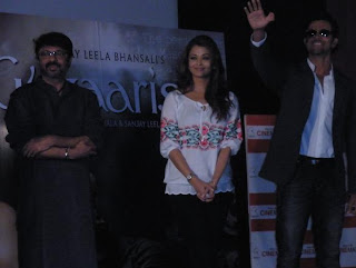 Sanjay, Aishwarya and Hrithik at first look launch of Guzaarish