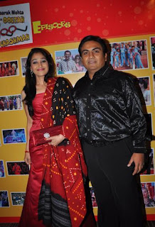 Disha Wakani and Dilip Joshi at 500 episodes celebration party of TMKOC