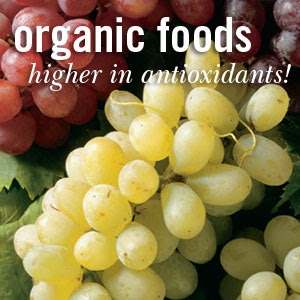 Grapes Higher Antioxidants organic foods and their traditionally grown counterparts