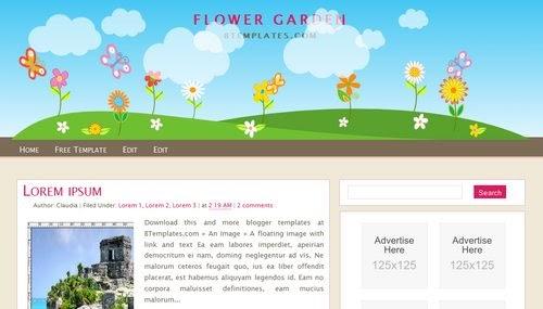 Blogger layout blogspot layout flower garden blogger layout for Free flower garden designs and layouts