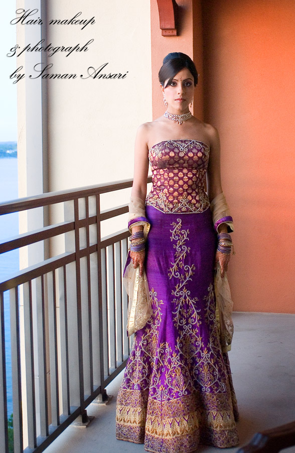 Traditional Indian Bridal Lengha in Purple Exquisite Purple Modern