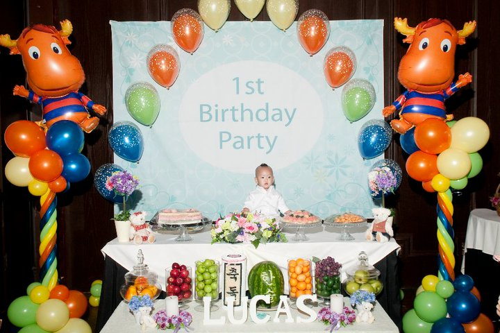 1st birthday party backyardigans theme customer photos for Baby first birthday decoration ideas