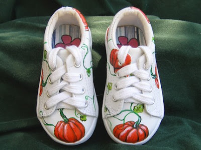 Hand-Painted Fall Leather Pumpkin Shoes