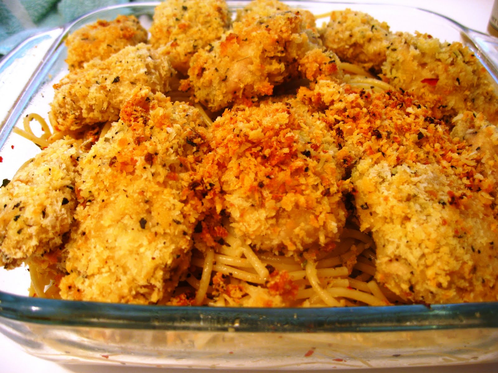 Spaghetti with Baked Garlic Parmesan Chicken | Audrey's Cooking Lab
