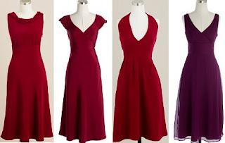 Four burgundy-colored bridesmaid dresses