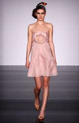 Melissa Sweet silk organza short strapless empire dress with fabric flower
