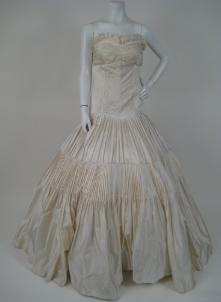 off-white strapless wedding dress
