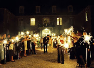 nighttime wedding with sparklers