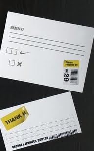 White RSVP and thank you cards with grey lines for text