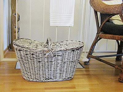 grey painted basket for glass and paper