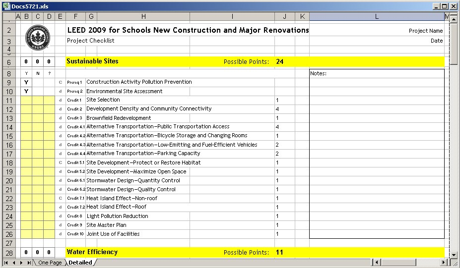 ... in addition LEED Scorecard Checklist. on excel worksheet spreadsheet