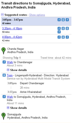 Hyderabad MMTS on Google Transit