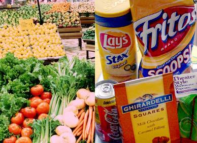 Healthy food vs junk food clipart