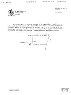 Imagen de la 2.ª página del fax de autorización de la Delegación del Gobierno. Hacer clic para aumentar