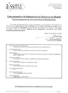 Imagen del escrito remitido por la AISSMa a la Delegación del Gobierno para desistir de la manifestación del 21 de febrero de 2008, en la Puerta del Sol. Hacer clic para aumentar de tamaño.