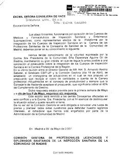 Copia, con registro de entrada, del escrito dirigido a la DG RR HH de la Consejería de Hacienda