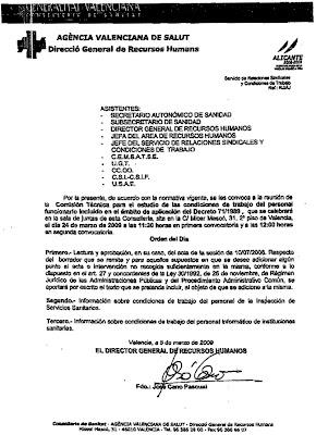 Clic para aumentar la imagen de la convocatoria de la Comisión Técnica de la Agència Valenciana de Salut para tratar de la Inspección de Servicios Sanitarios