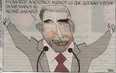 Hacer clic para aumentar la viñeta de Caín, publicada en el diario La Razón del 28/02/09