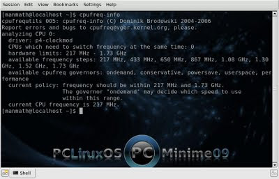 pclinuxos 2009.1 minime power management on a celeron m 530