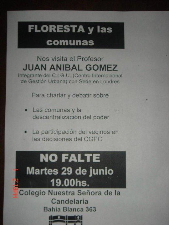 Series de Cursos sobre COMUNAS dictado por Juan Anibal Gómez