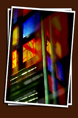 stained glass window. baclayon church, bohol