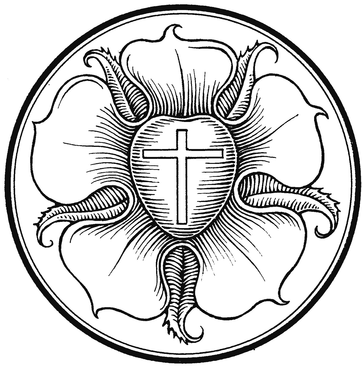 Luther rose coloring page coloring pages for Luther s seal coloring page