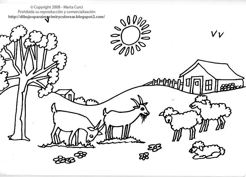 DIBUJOS PARA COLOREAR: Dibujo de cabras y ovejas para ...