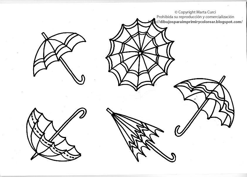 dibujos para colorear  dibujo de paraguas para imprimir y