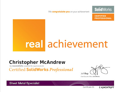 CSWP Advanced Sheet Metal SpecialistCertificate Chris McAndrew
