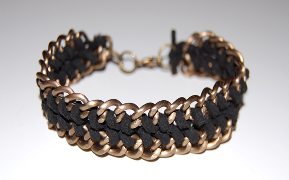 DIY double wrap chain and cord bracelet / bracelet chaine et corde