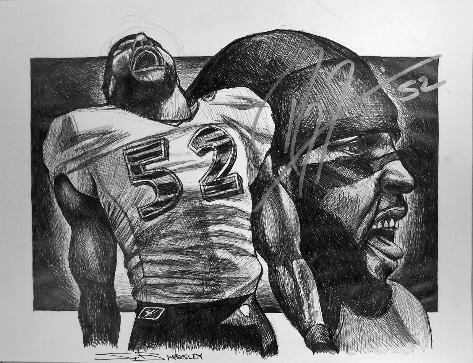 Ray Lewis Drawings Autographed ray lewis drawing
