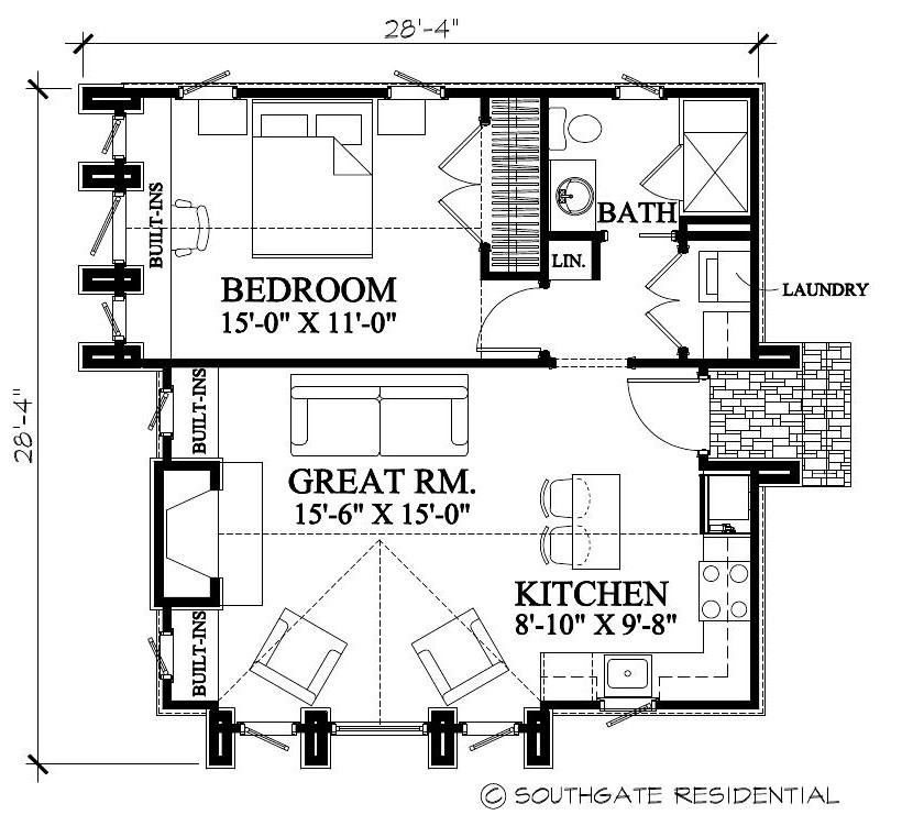 Garage Apartment Plans With Kitchen