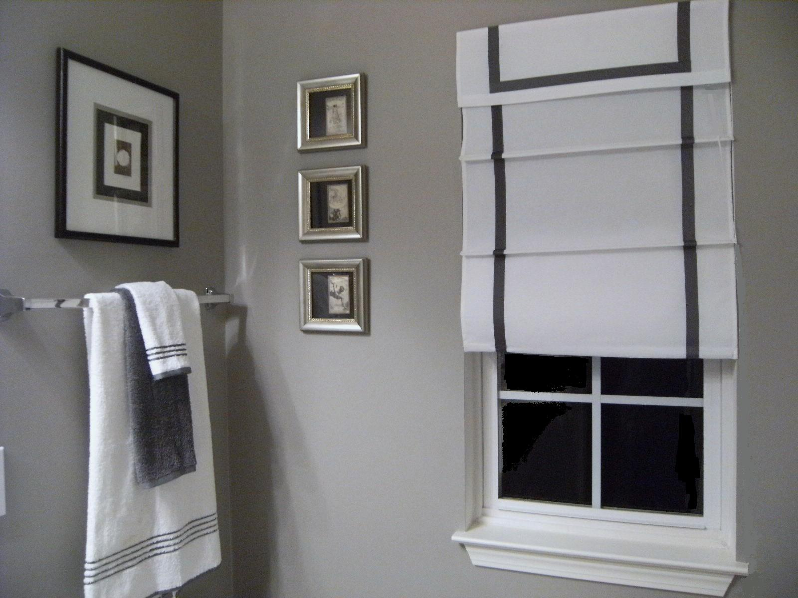 Southgate residential diy ribbon edged roman shades for Grey and white bathroom decor